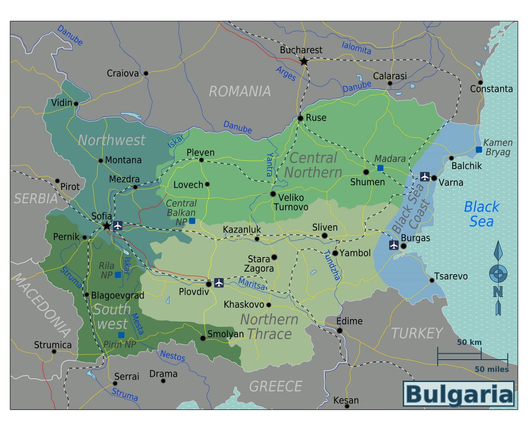 Large regions map of Bulgaria