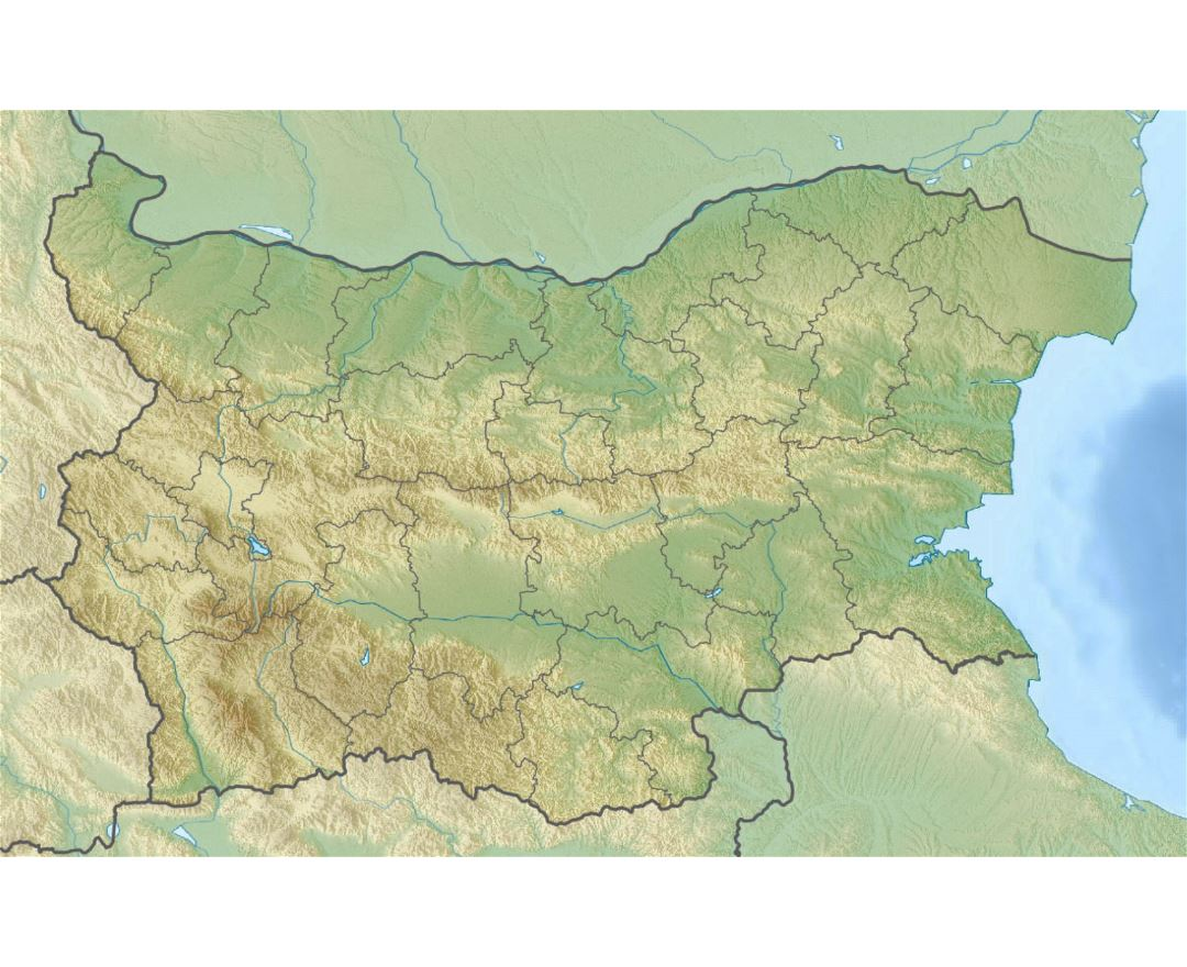Large relief map of Bulgaria