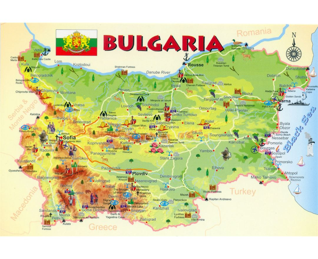 Large tourist map of Bulgaria