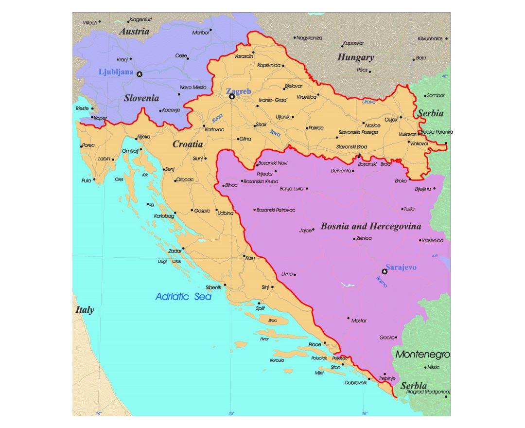 Maps of croatia detailed map of croatia in english tourist map detailed political map of croatia with roads and major cities gumiabroncs Image collections