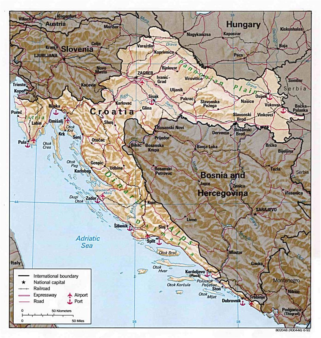 Large detailed political and administrative map of Croatia with relief, roads, major cities, seaports and airports - 1992