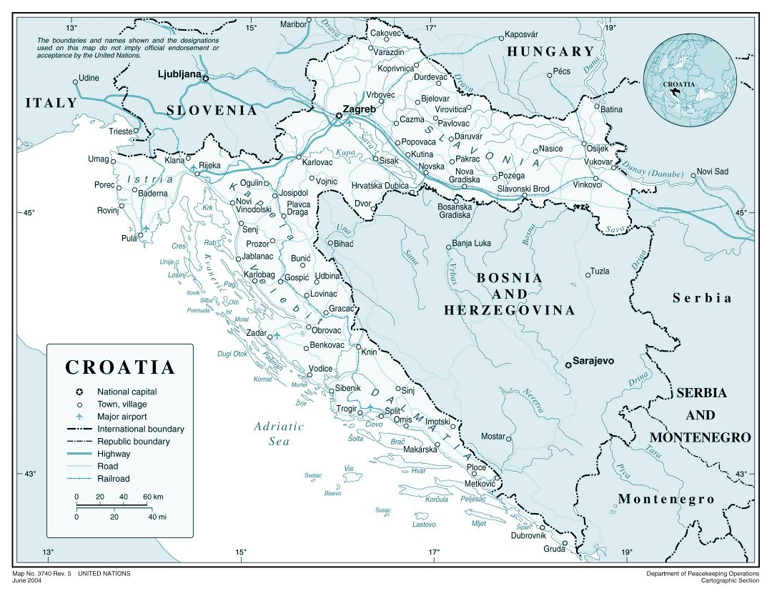 Large detailed political map of Croatia with roads, major cities and airports