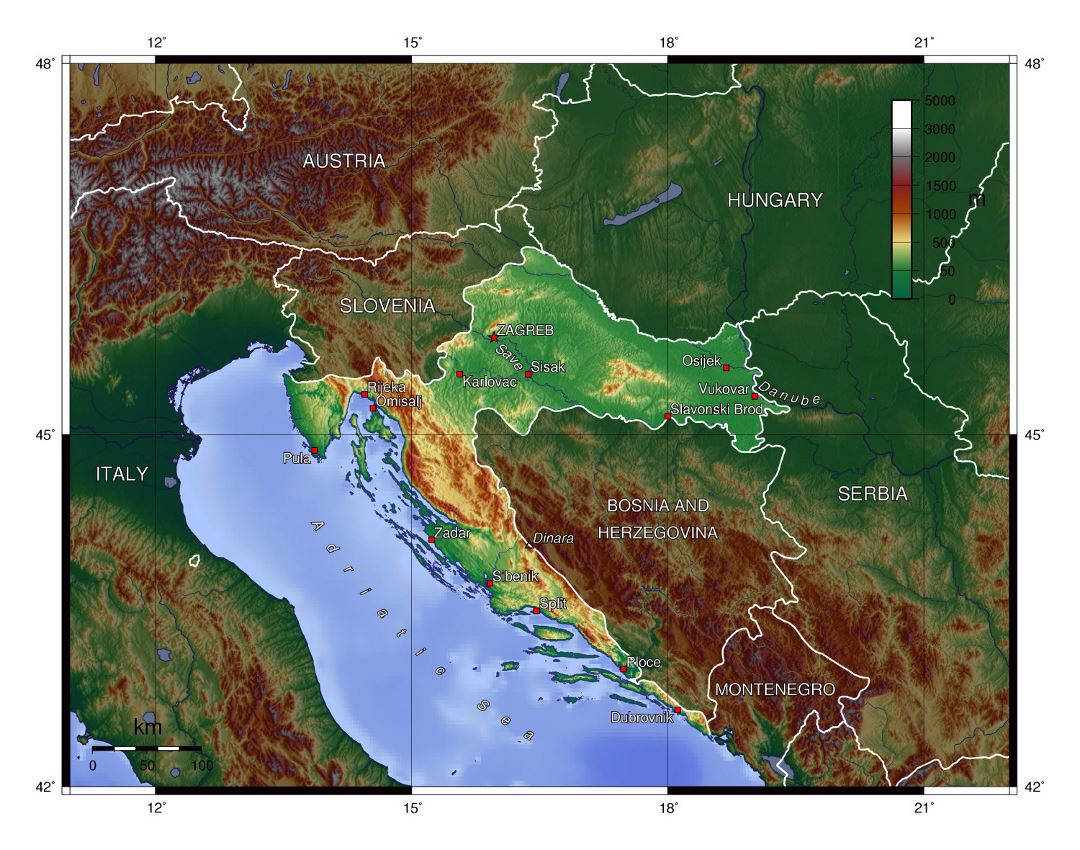 Large physical map of Croatia