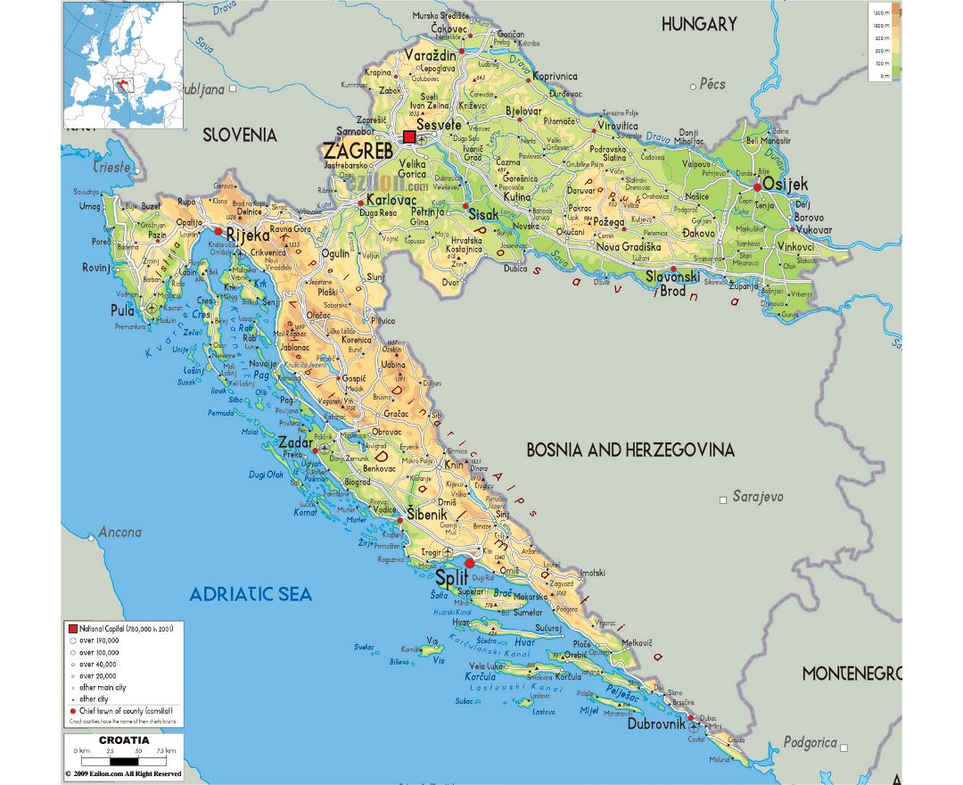 Maps of Croatia | Detailed map of Croatia in English | Tourist map ...