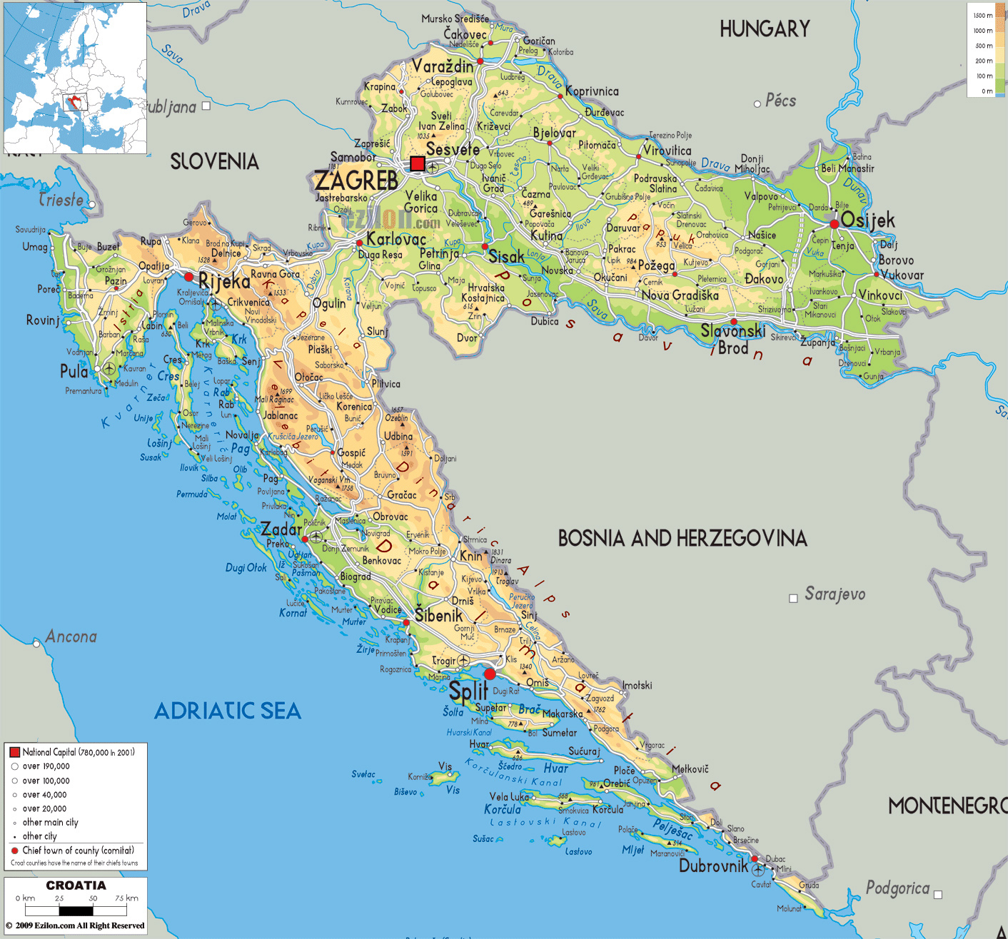 Large Physical Map Of Croatia With Roads Cities And Airports