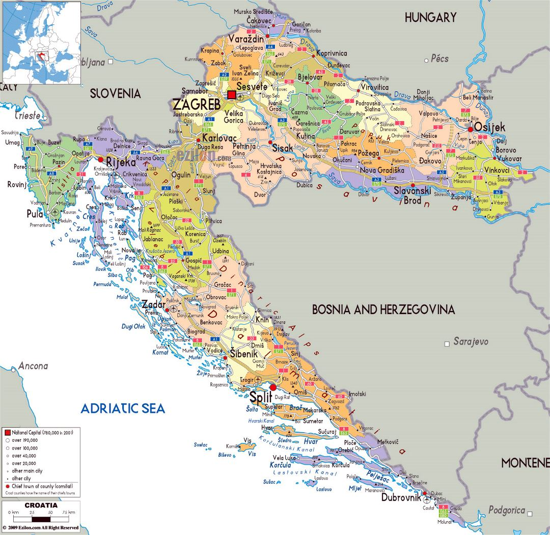 Large political and administrative map of Croatia with roads, cities and airports