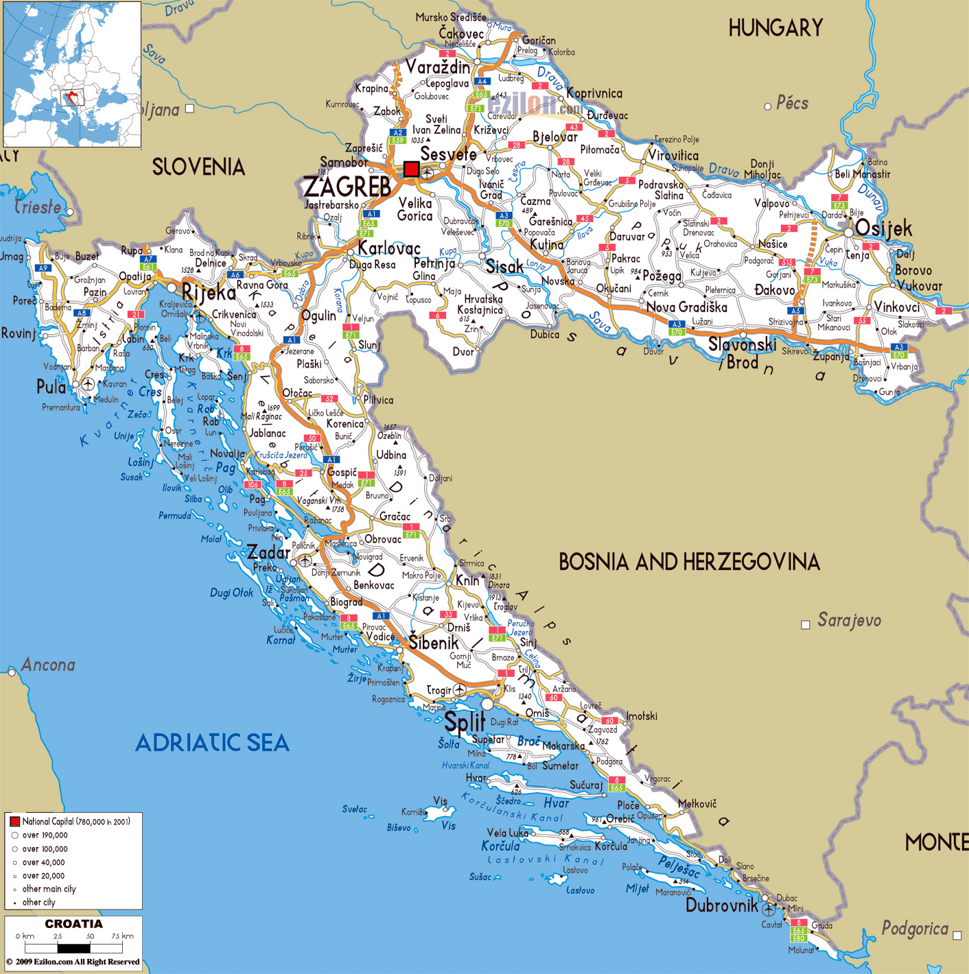 Large road map of croatia with cities and airports croatia large road map of croatia with cities and airports publicscrutiny Choice Image