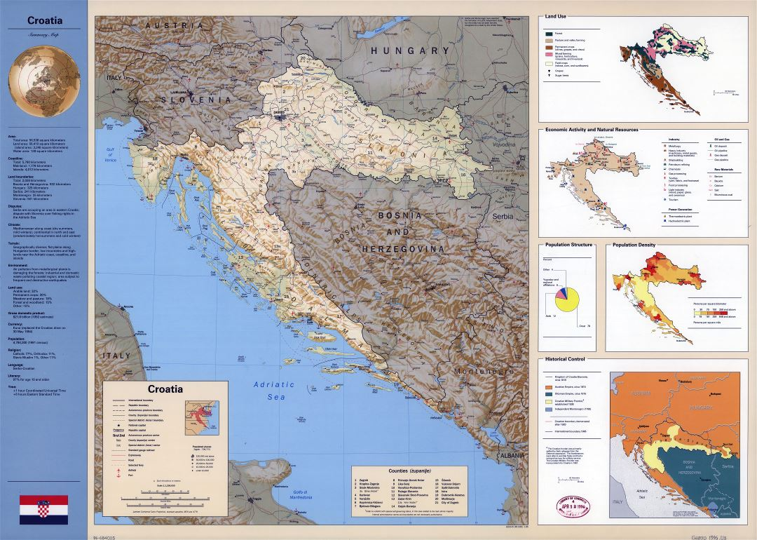 Large scale country profile map of Croatia - 1996