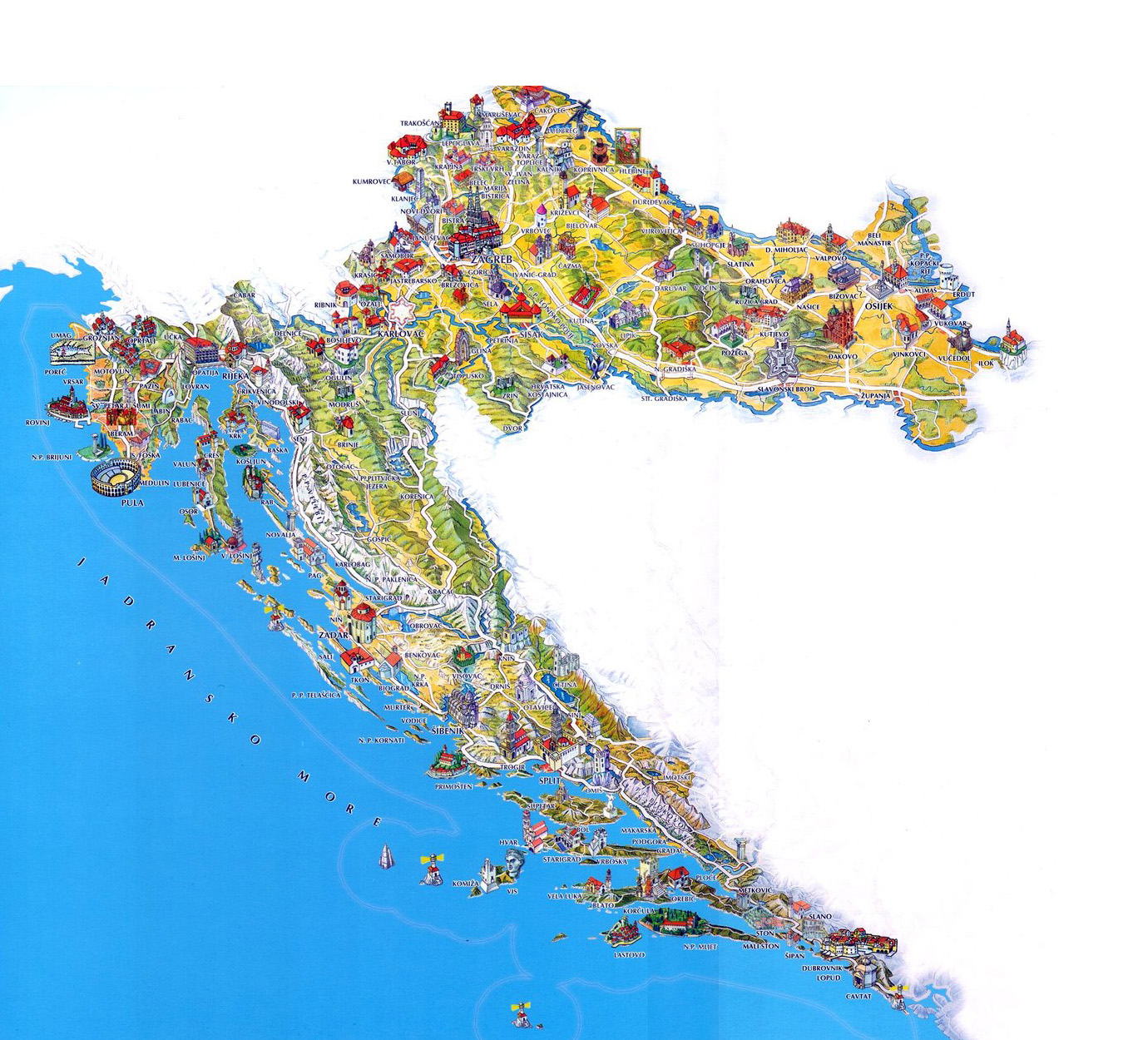 Large tourist illustrated map of croatia croatia europe large tourist illustrated map of croatia gumiabroncs Images