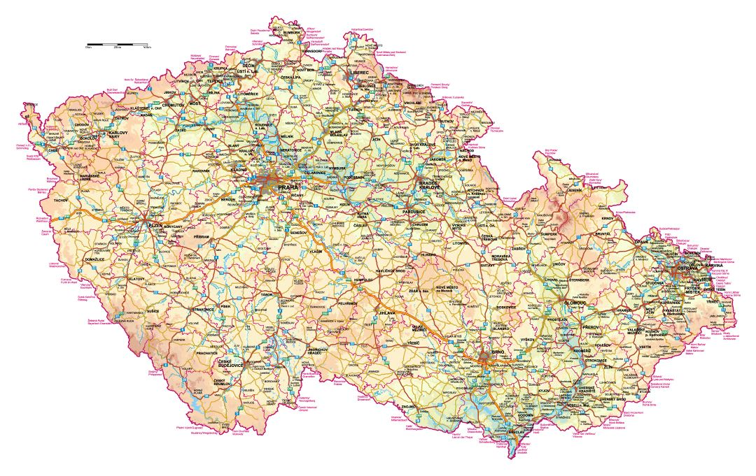 Detailed elevation map of Czech Republic with roads and all cities