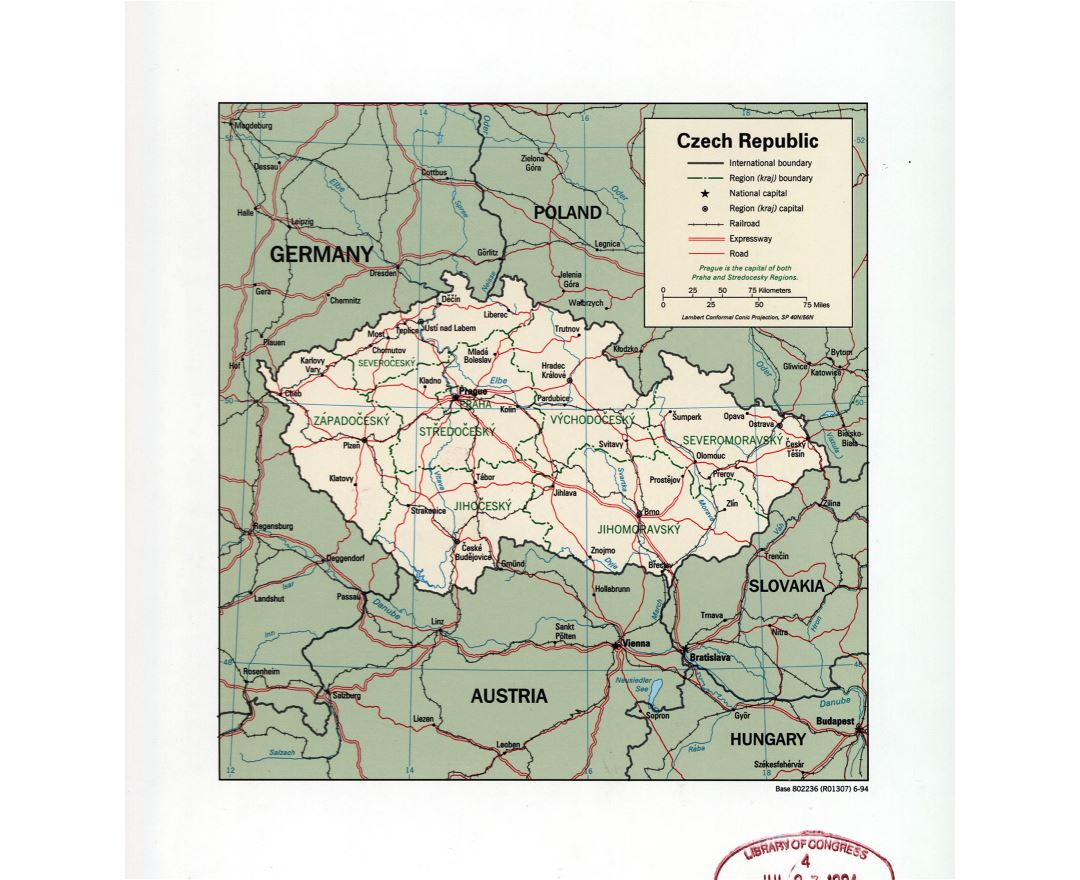 large detail political and administrative map of czech republic with marks of major cities roads