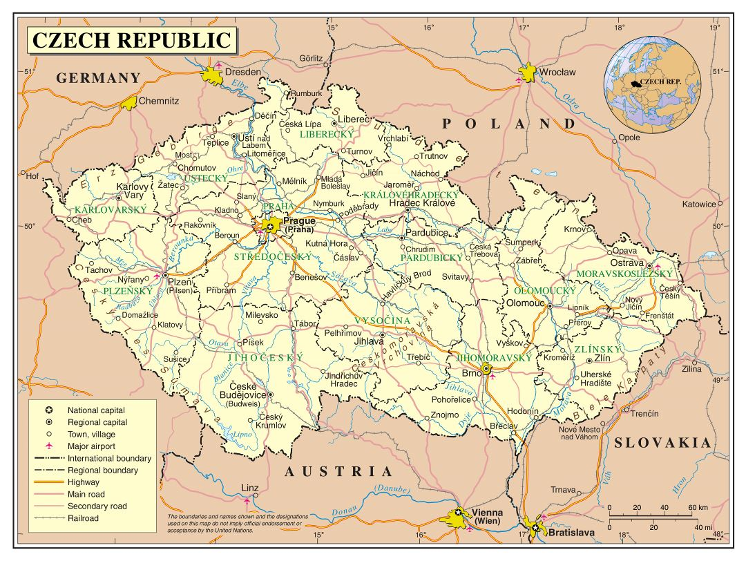 Large detailed political and administrative map of Czech Republic with roads, cities and airports
