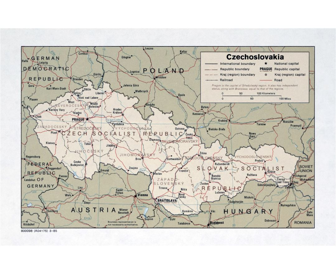 Large detailed political and administrative map of Czechoslovakia with roads and major cities - 1985
