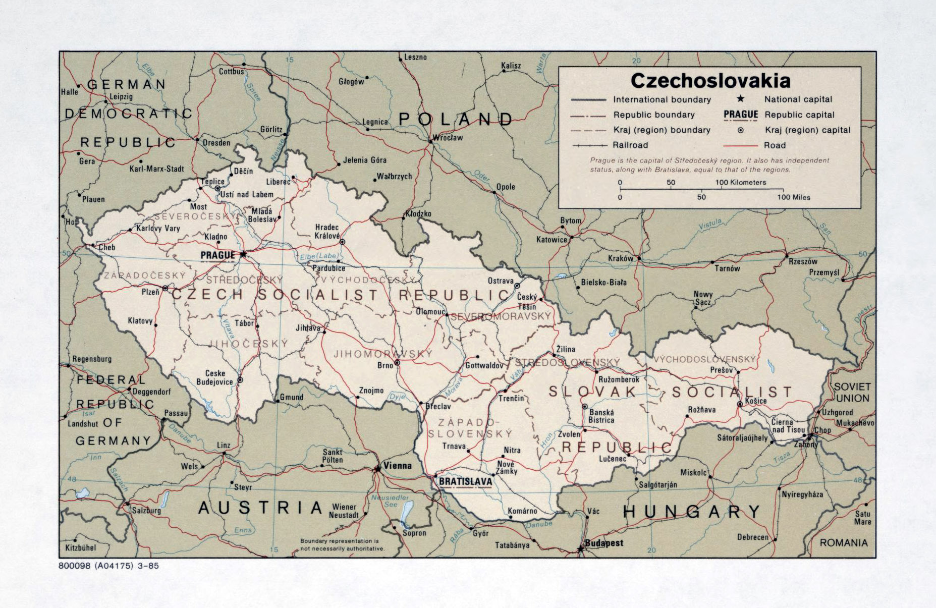 Map Of Czechoslovakia Large detailed political and administrative map of Czechoslovakia