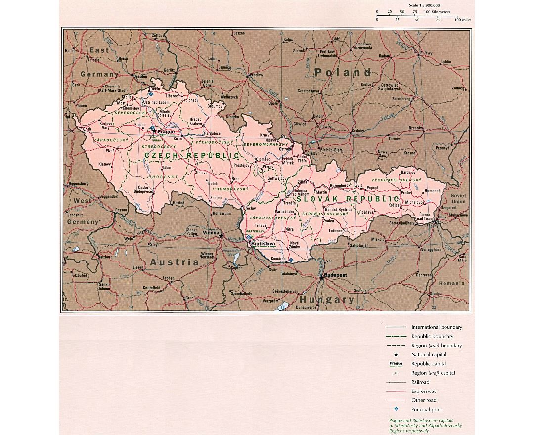 Large detailed political map of Czech Republic and Slovak Republic