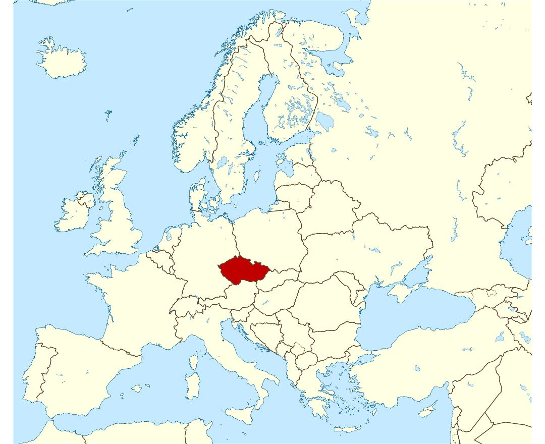 Large location map of Czech Republic
