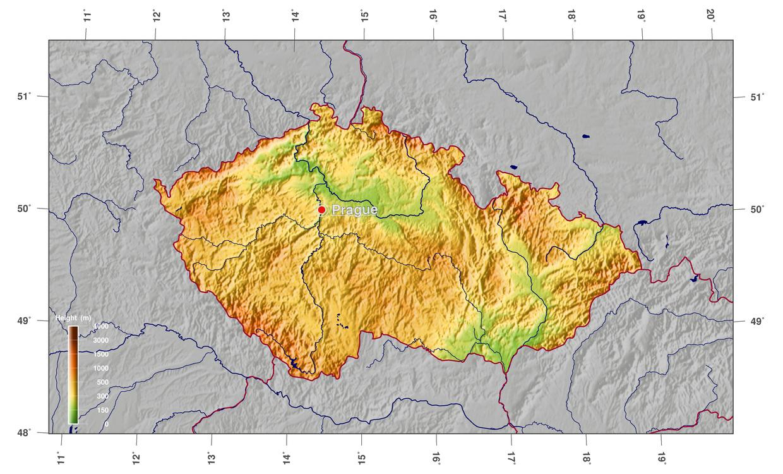 Large Physical Map Of Czech Republic Czech Republic Europe - Czech republic map