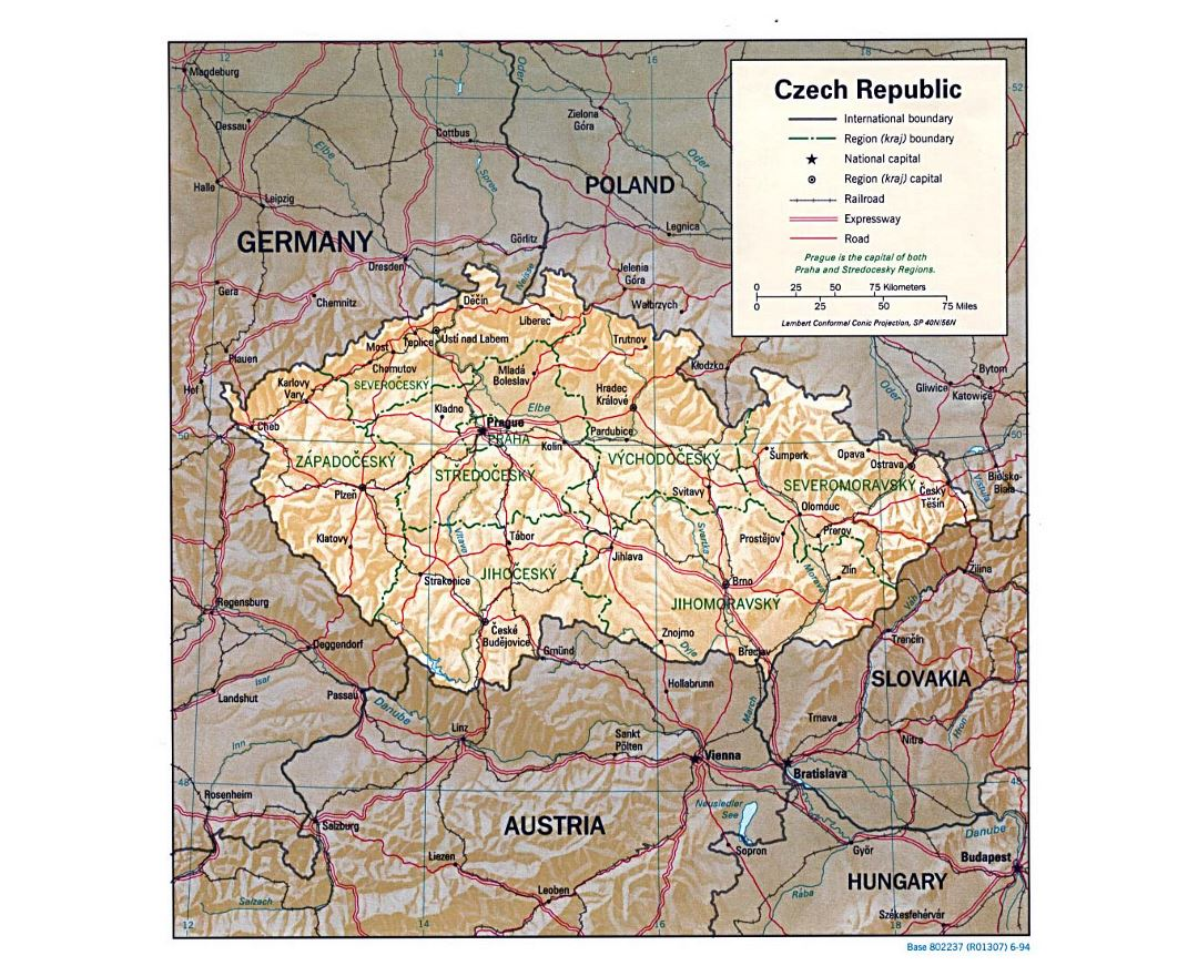 Large political and administrative map of Czech Republic with relief, roads and cities - 1994