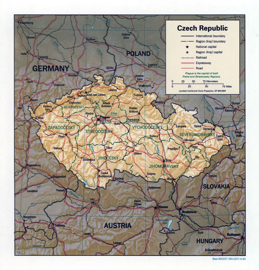 Large political and administrative map of Czech Republic with relief, roads and major cities - 1994