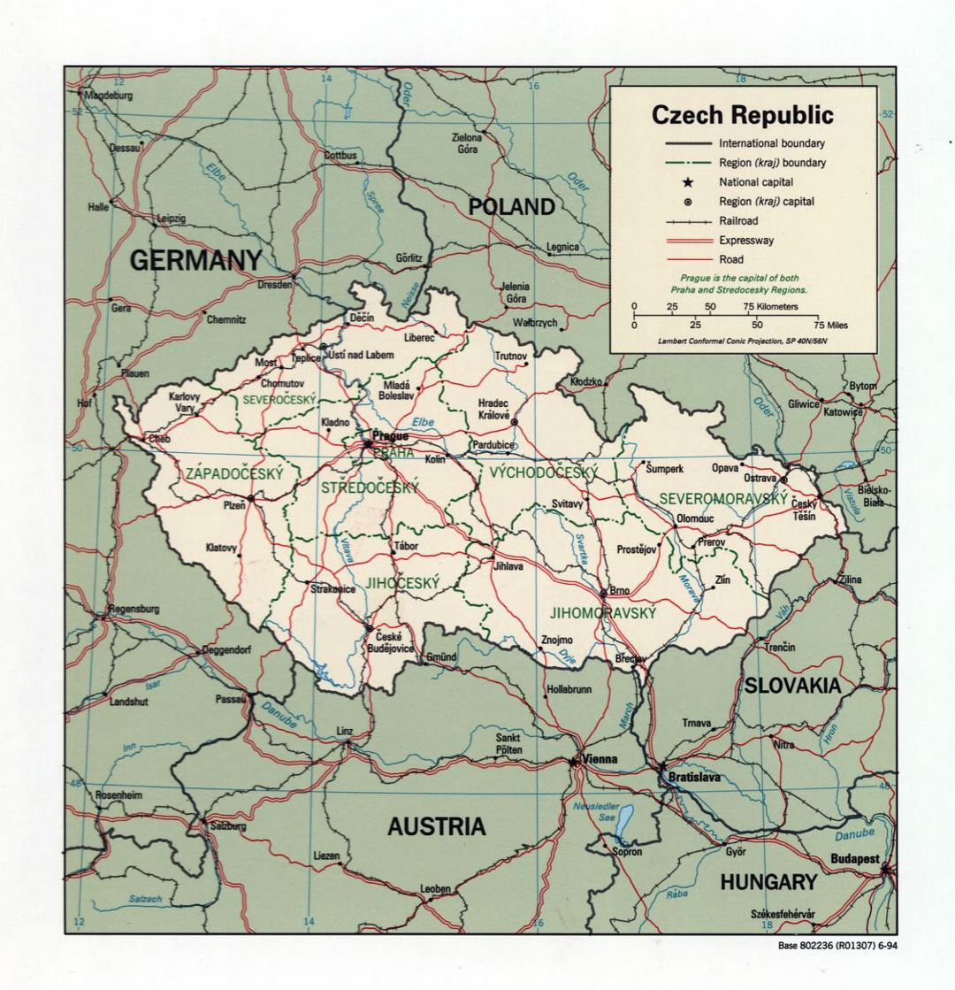 Large political and administrative map of Czech Republic with roads and major cities - 1994