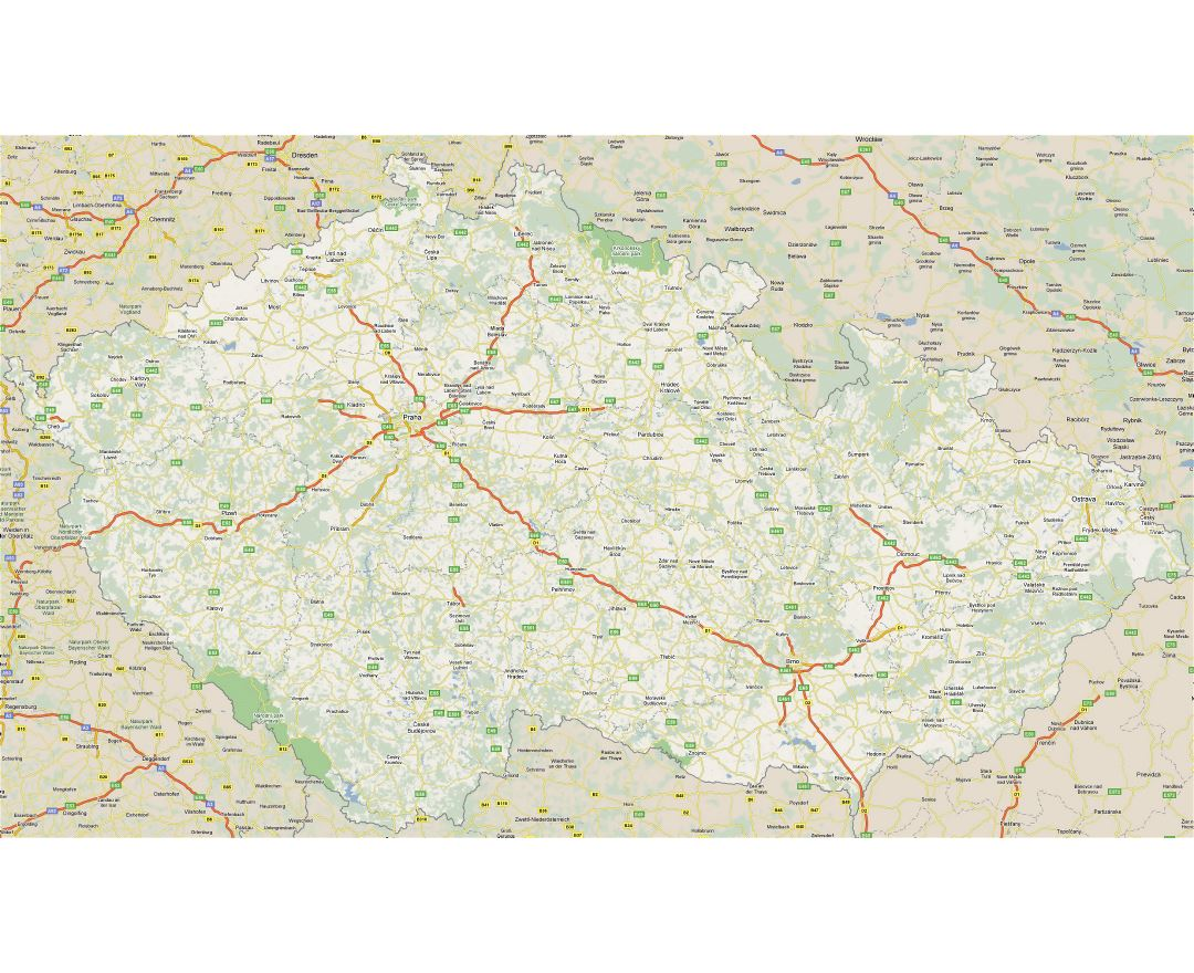 Large road map of Czech Republic with cities
