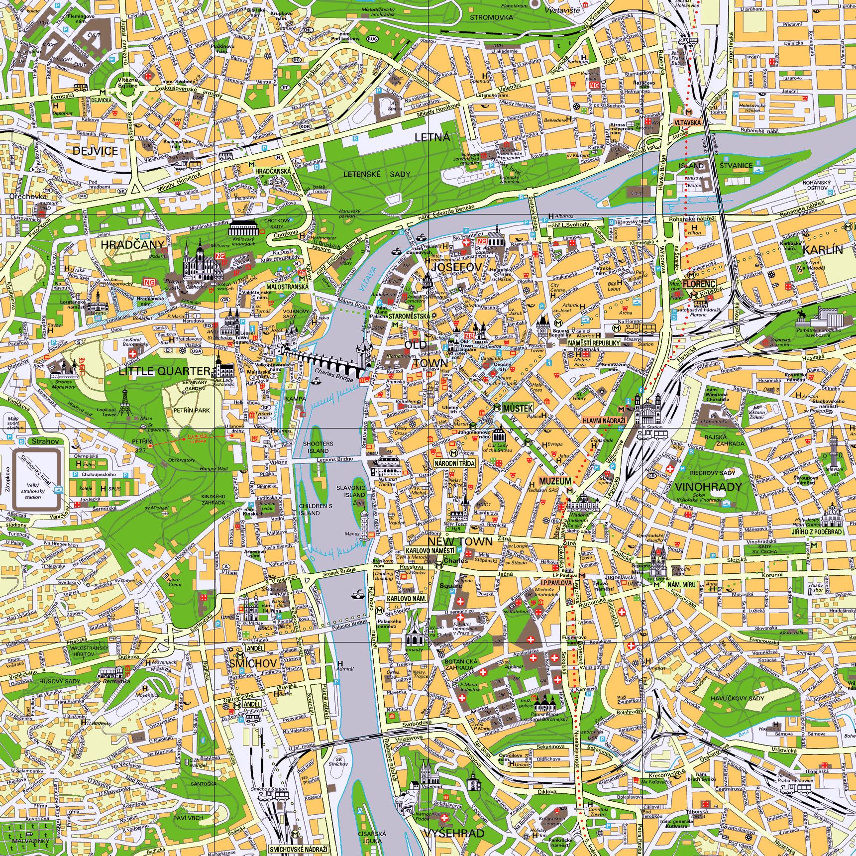 Detailed tourist map of Prague city center | Prague | Czech Republic ...