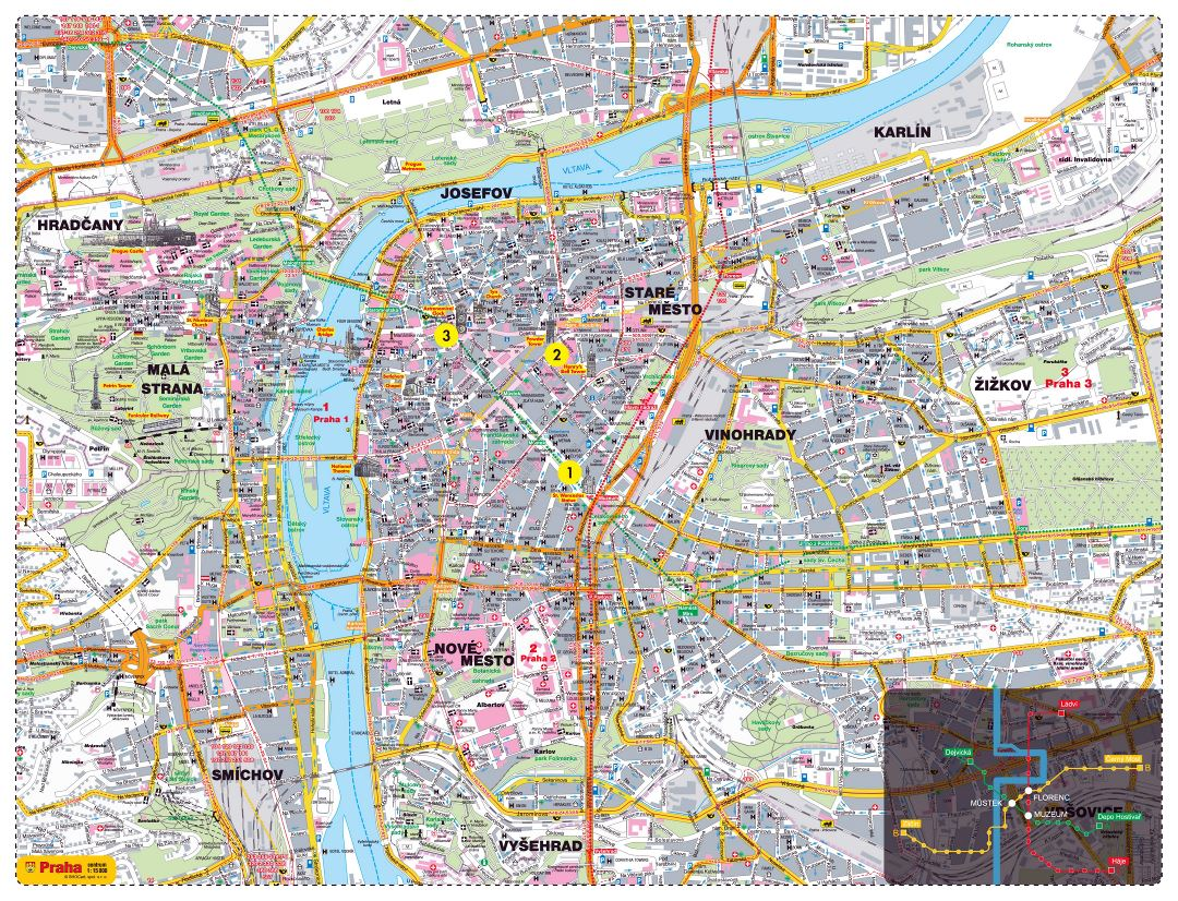 Large detailed road and tourist map of Prague city