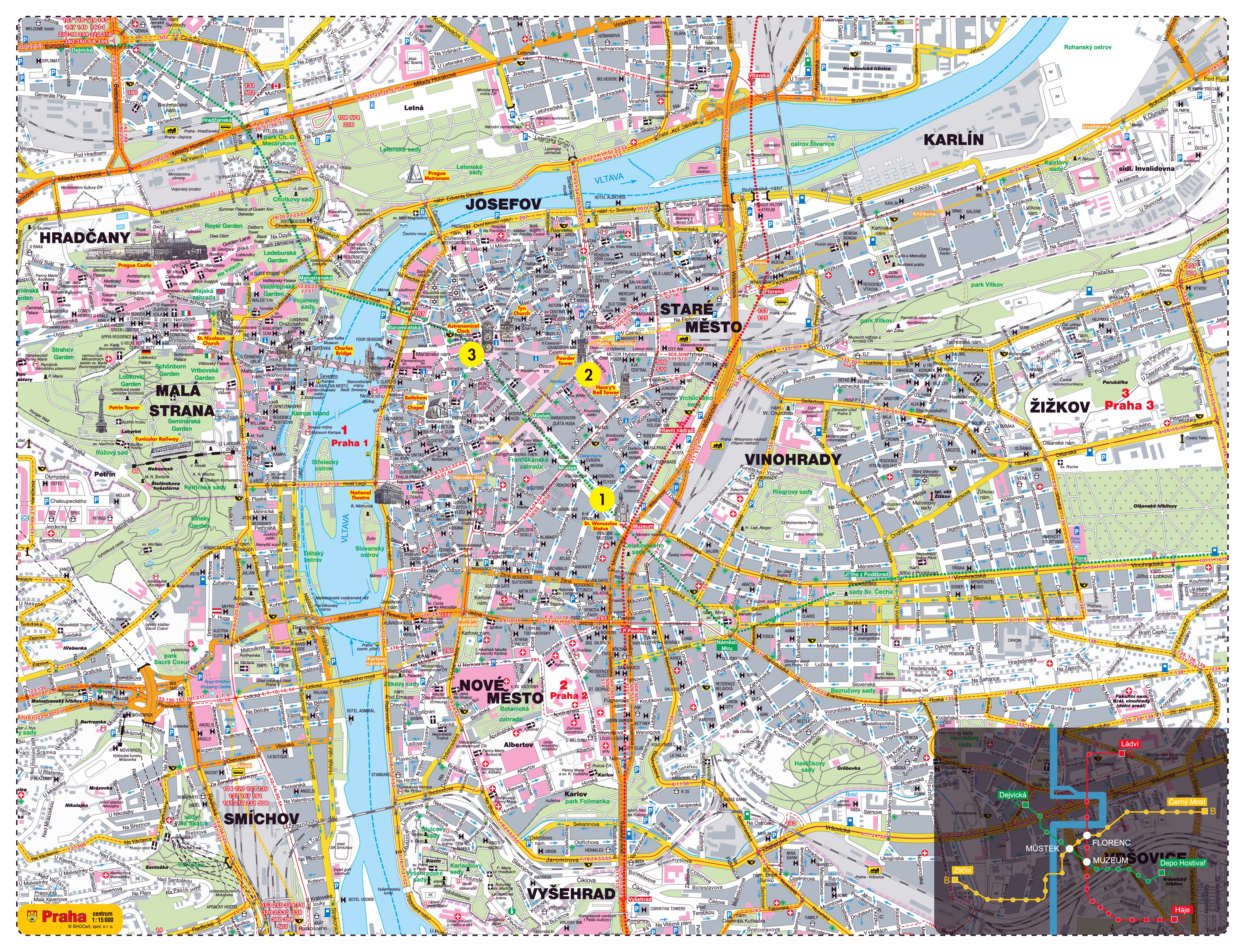 Large detailed road and tourist map of Prague city | Prague | Czech ...