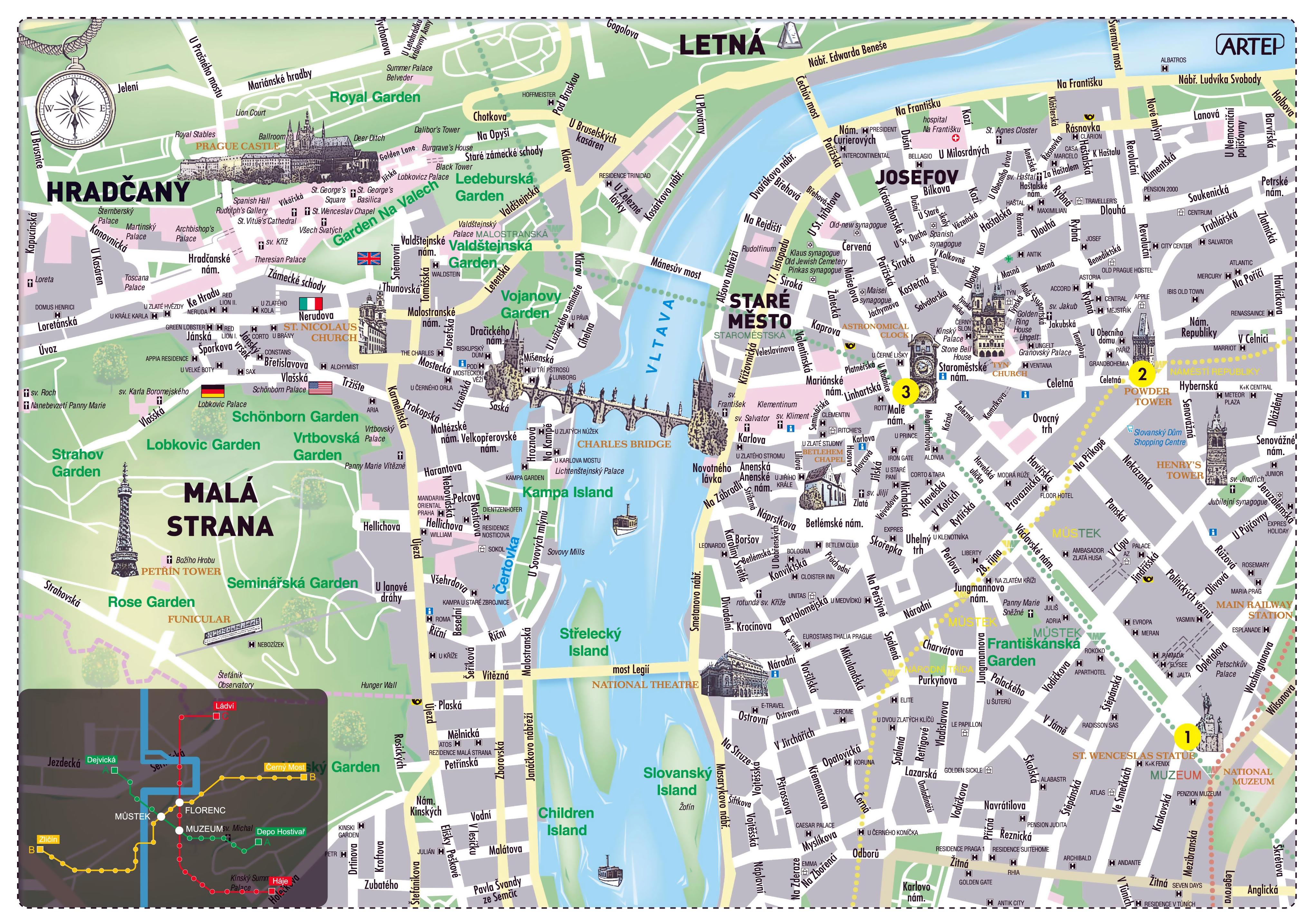 Large tourist map of Prague city | Prague | Czech Republic | Europe ...