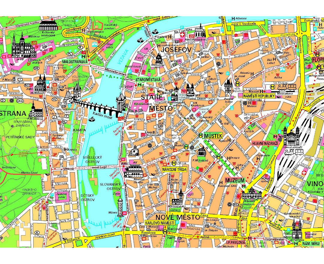 maps of prague  detailed map of prague in english  tourist map  - tourist map of prague city center