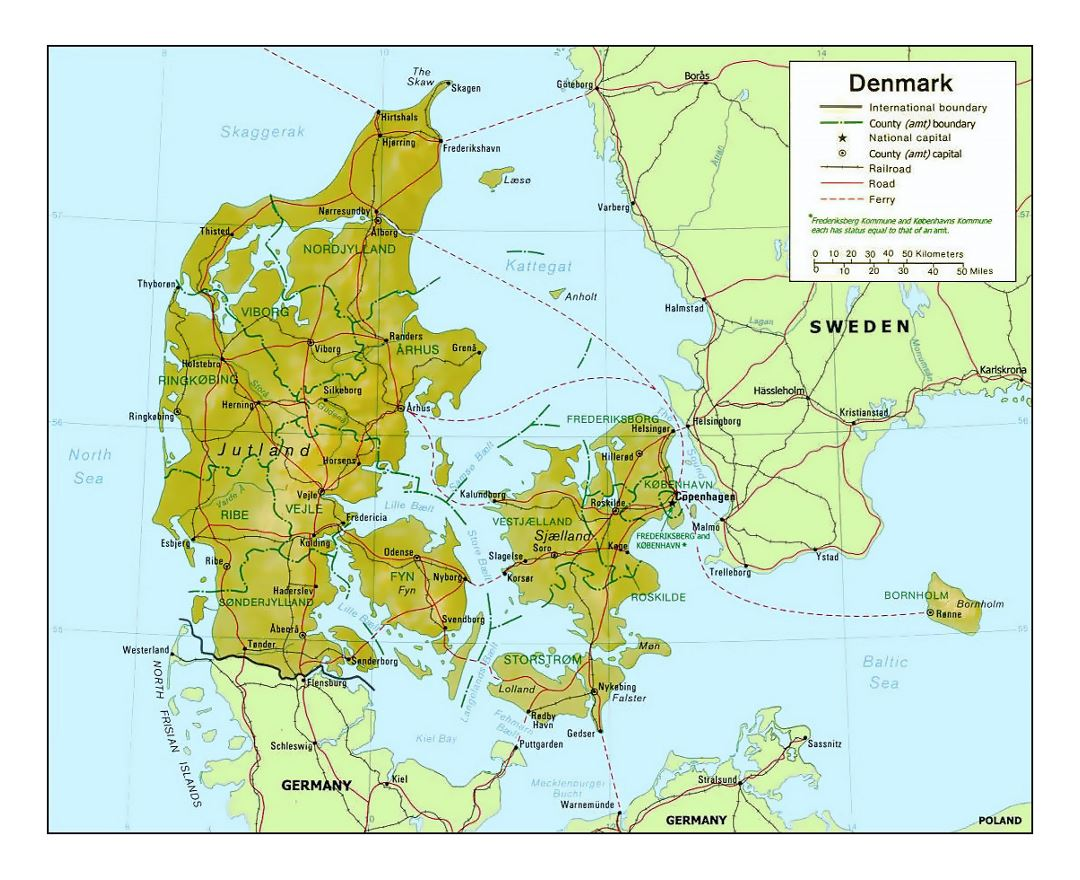 Detailed political and administrative map of Denmark with relief
