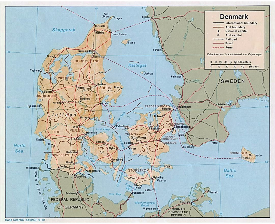 Detailed political and administrative map of Denmark with relief, roads and major cities - 1981