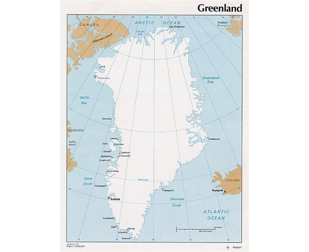 Detailed political map of Greenland with cities - 1976