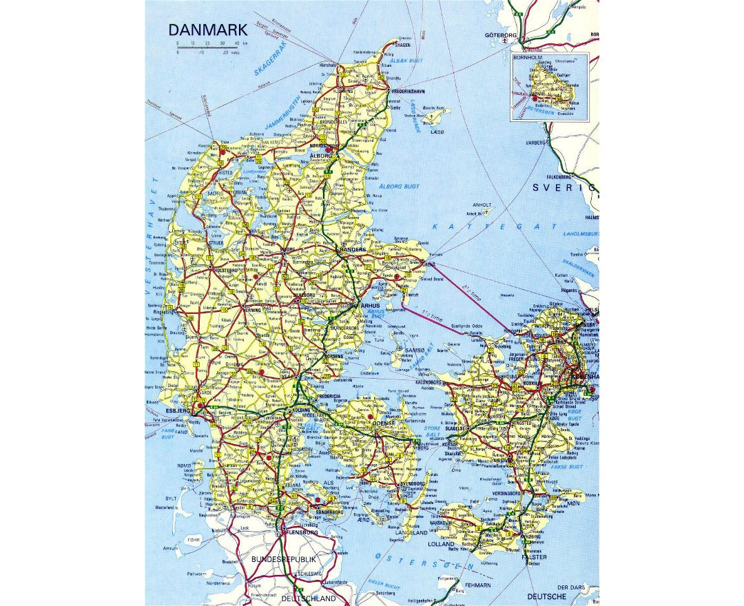 Detailed road map of Denmark with cities and airports