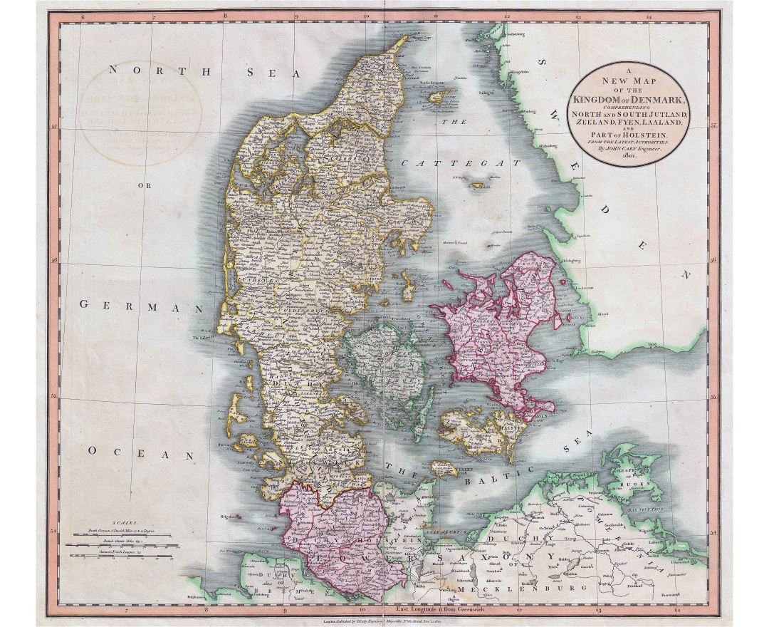 Large detailed old map of Denmark with cities - 1801