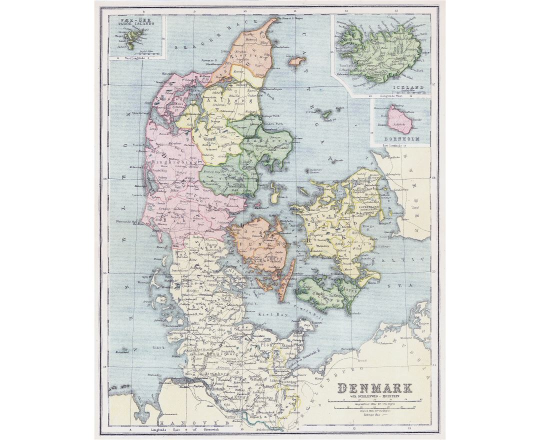 Large detailed old political and administrative map of Denmark with cities - 1808