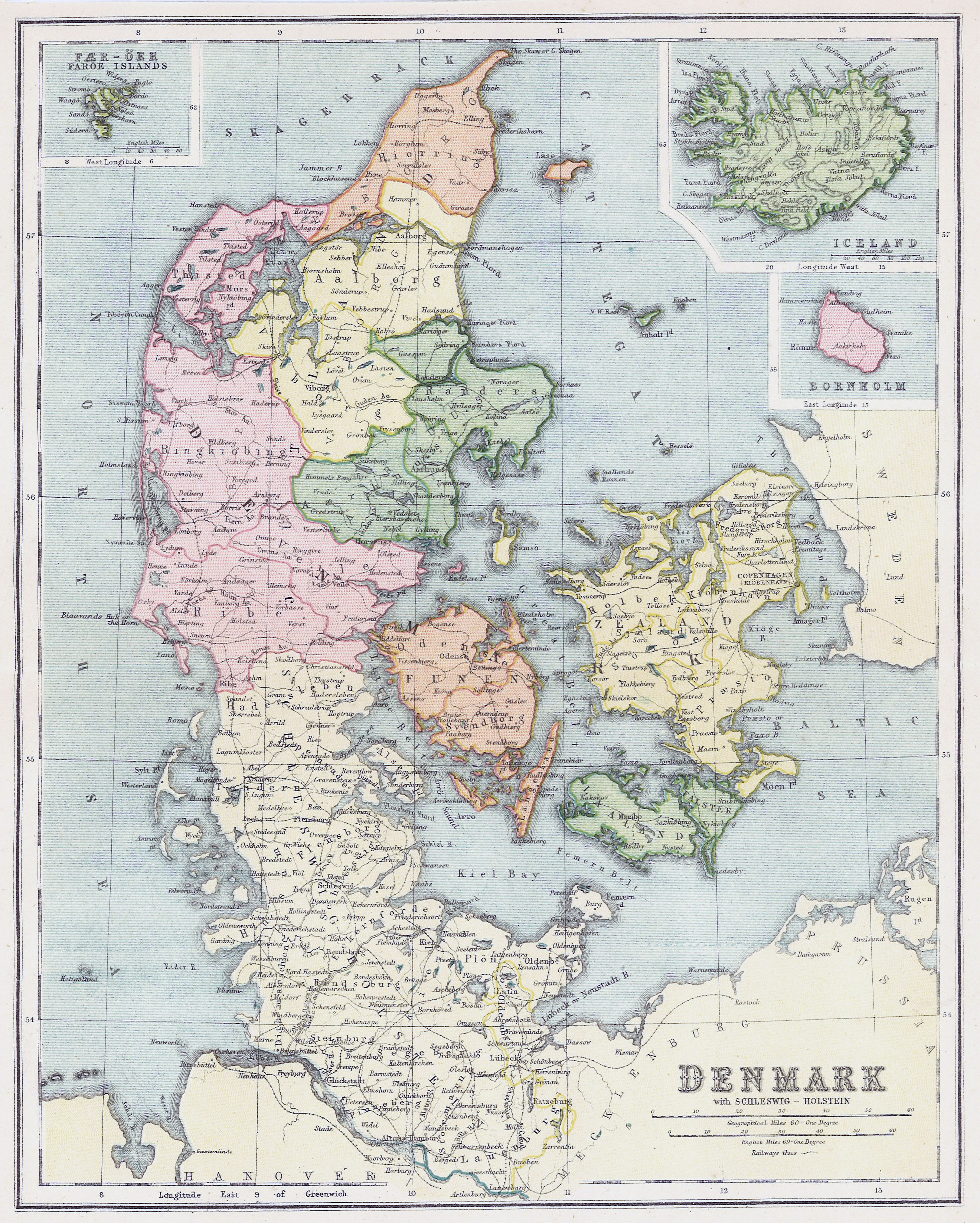 large detailed old political and administrative map of denmark
