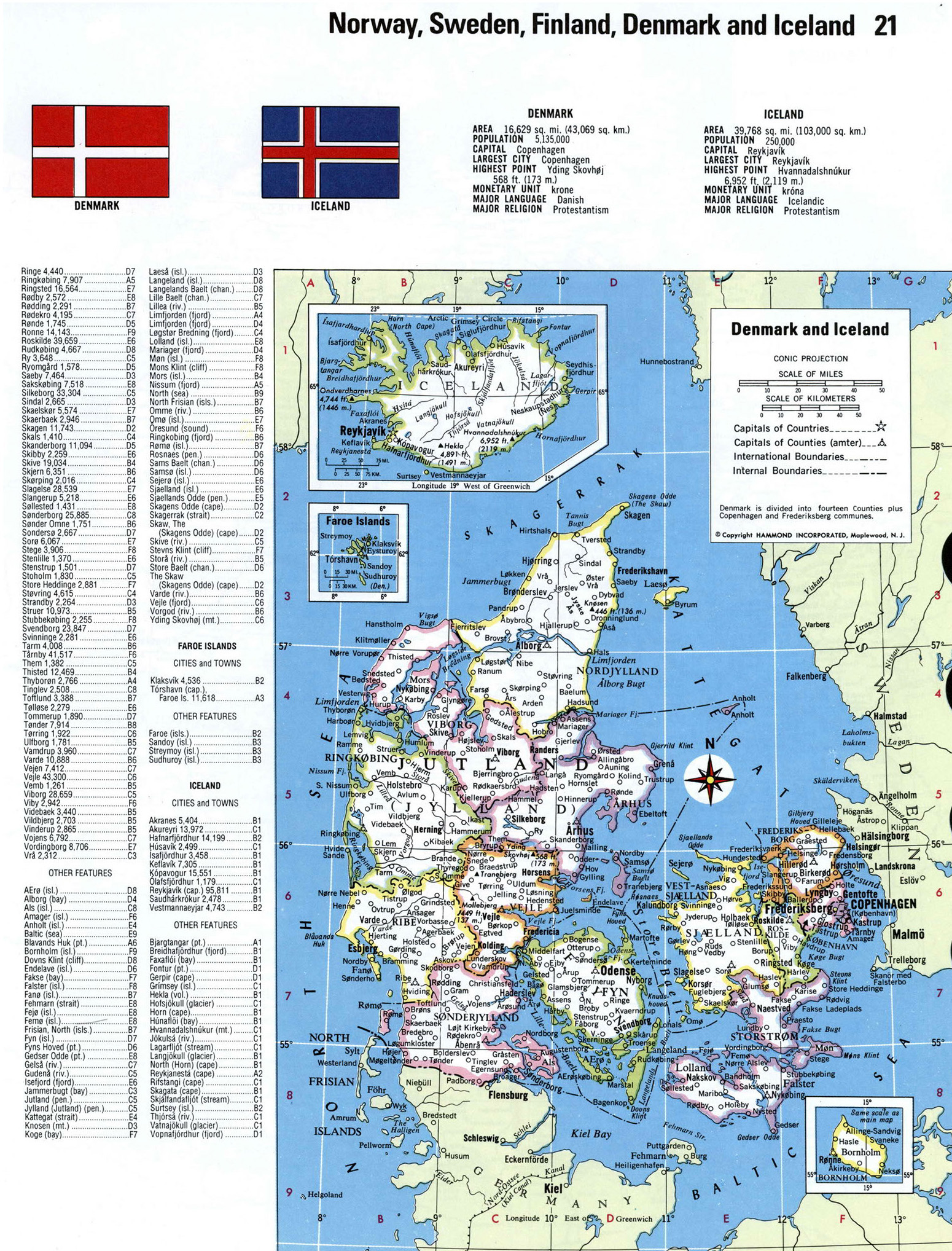 Large detailed political and administrative map of Denmark and