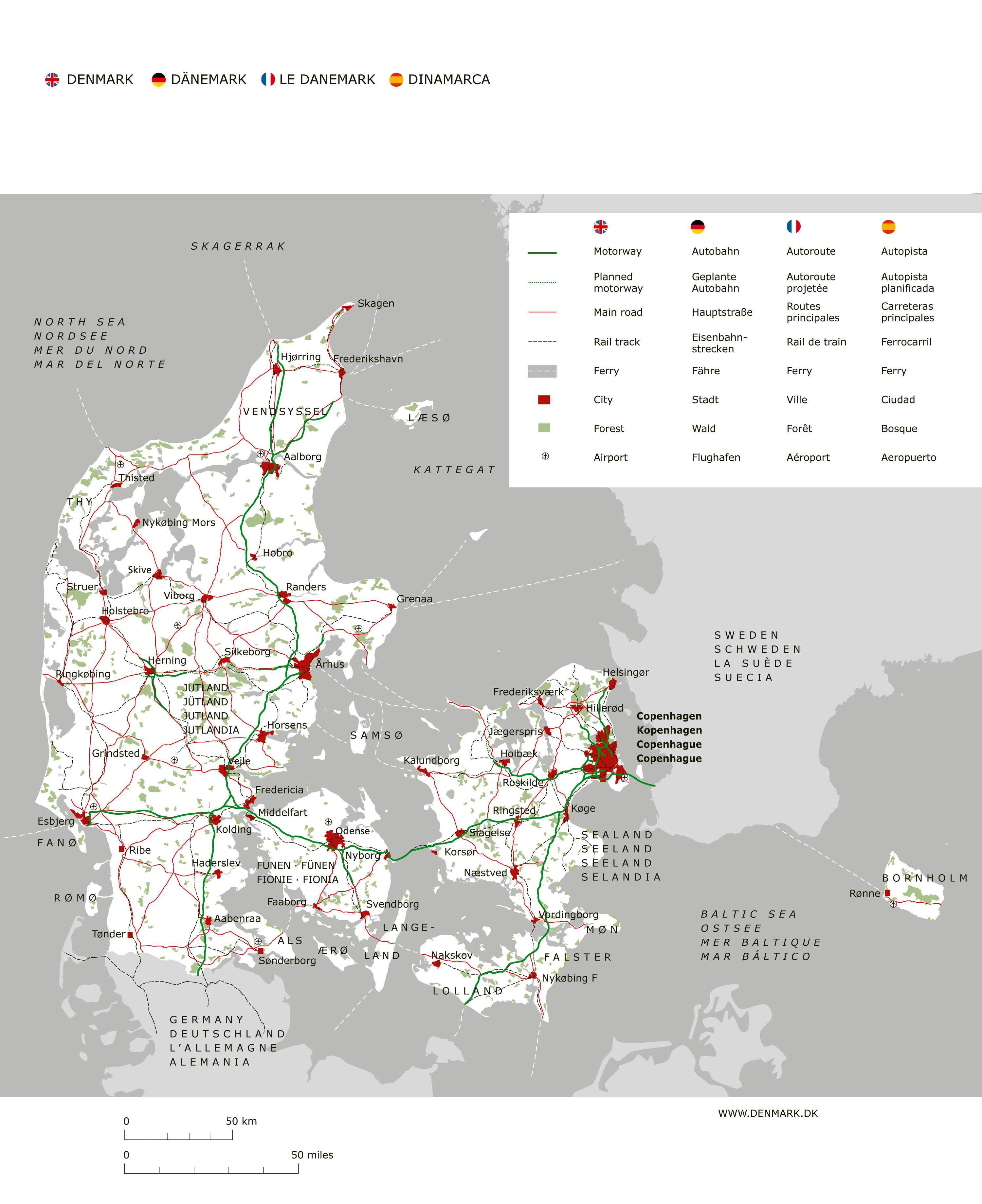 Large detailed road map of Denmark with major cities and airports