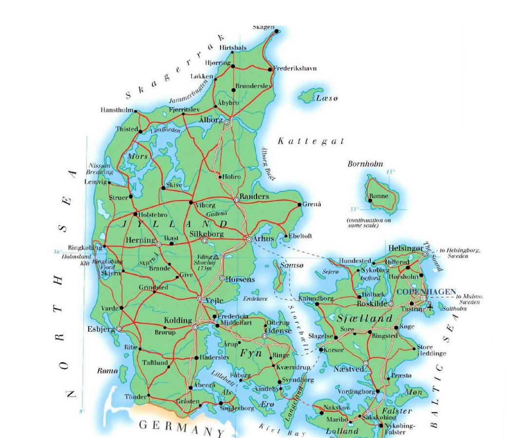 Large elevation map of Denmark with roads, cities and airports
