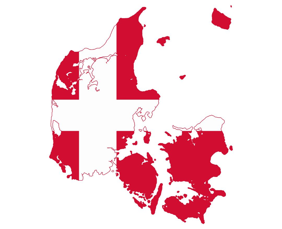 Large flag map of Denmark