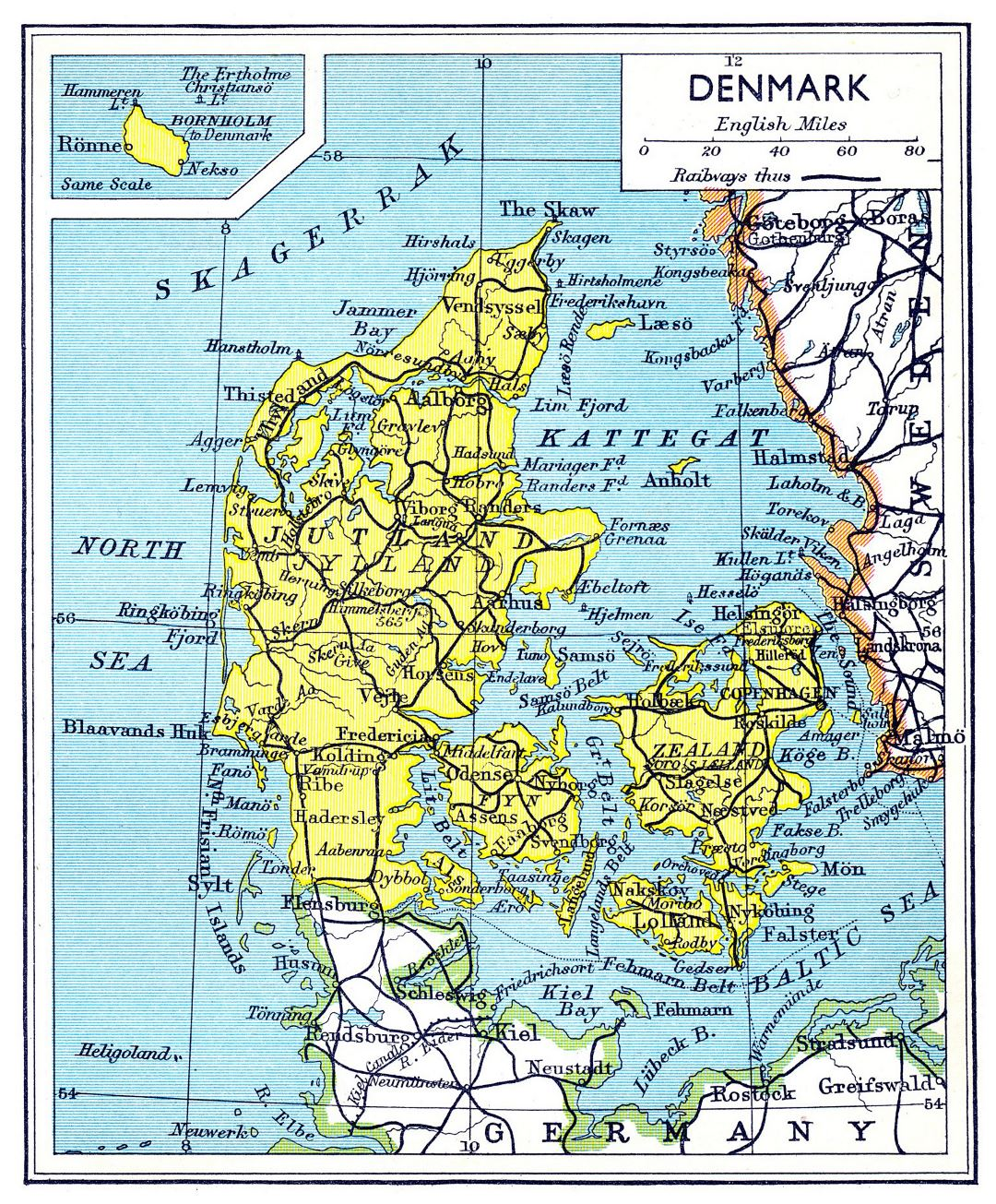 Large old road map of Denmark - 1941