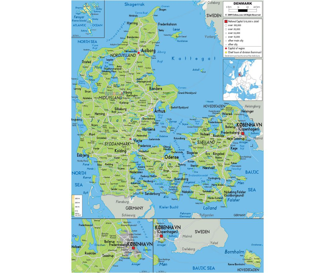 Large physical map of Denmark with roads, cities and airports