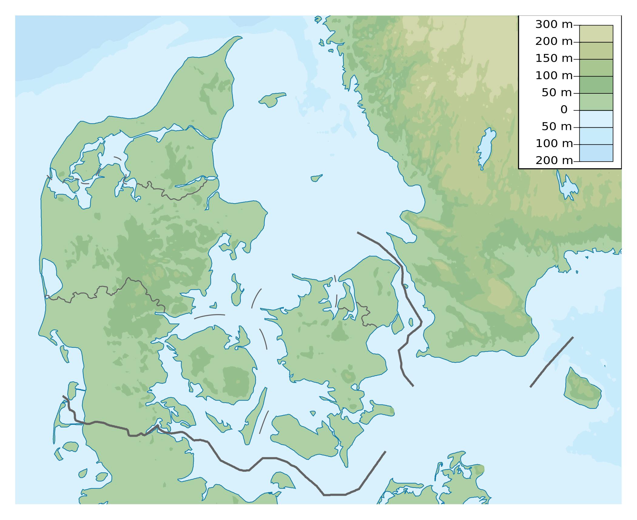 Large physical map of Denmark   Denmark   Europe   Mapsland ...