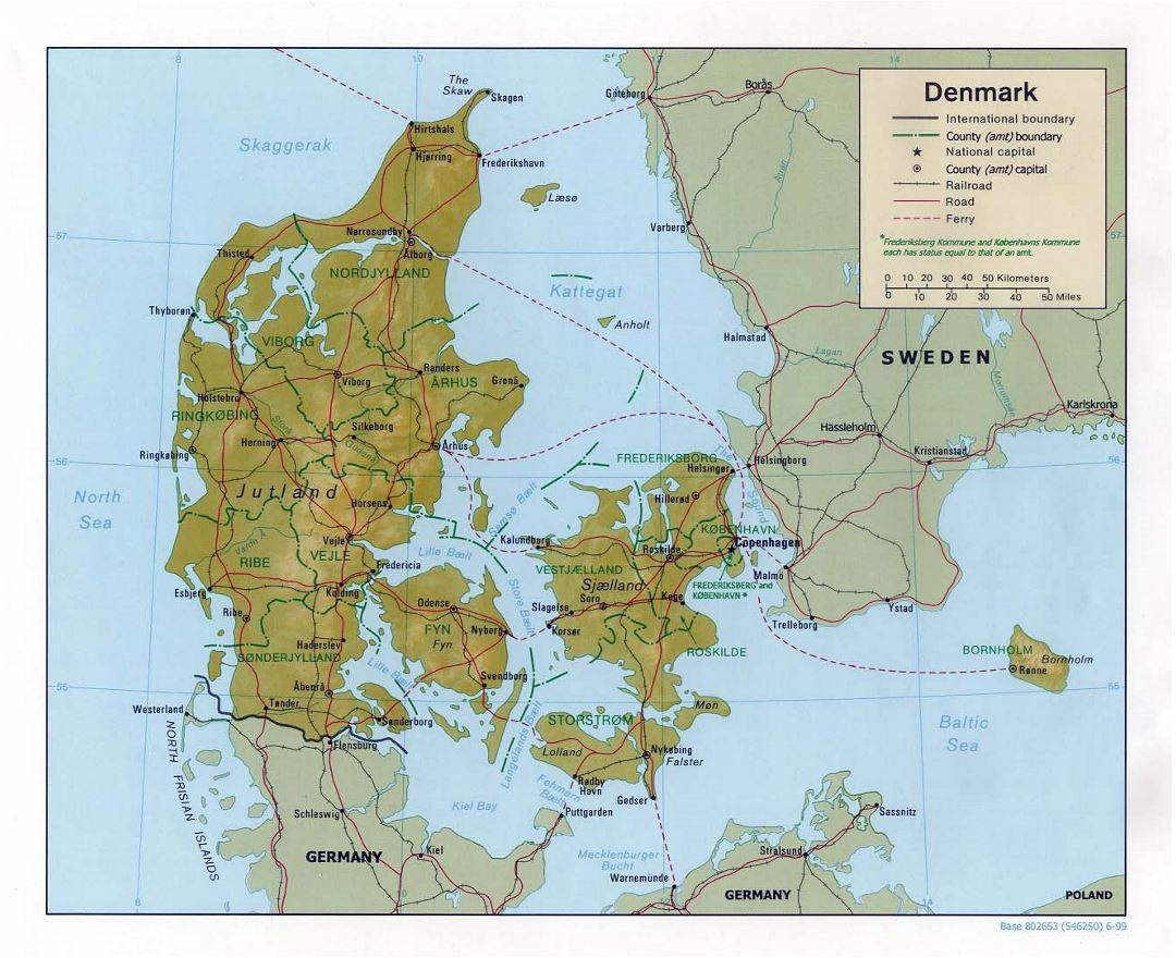Large political and administrative map of Denmark with relief, roads and major cities - 1999