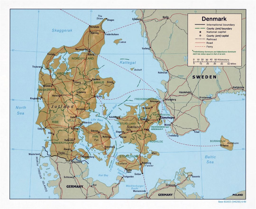 Large political and administrative map of Denmark with relief, roads, railroads and major cities - 1999