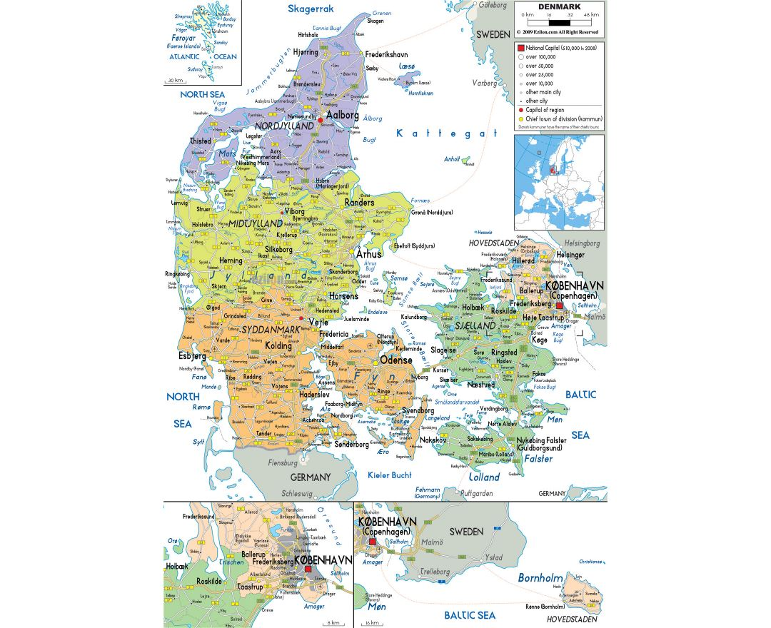 Large political and administrative map of Denmark with roads, cities and airports