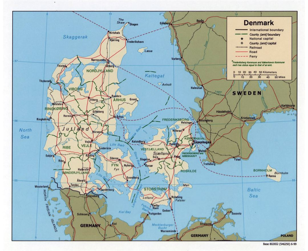 Large political and administrative map of Denmark with roads, railroads and major cities - 1999