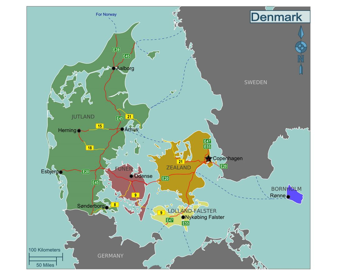 Large regions map of Denmark