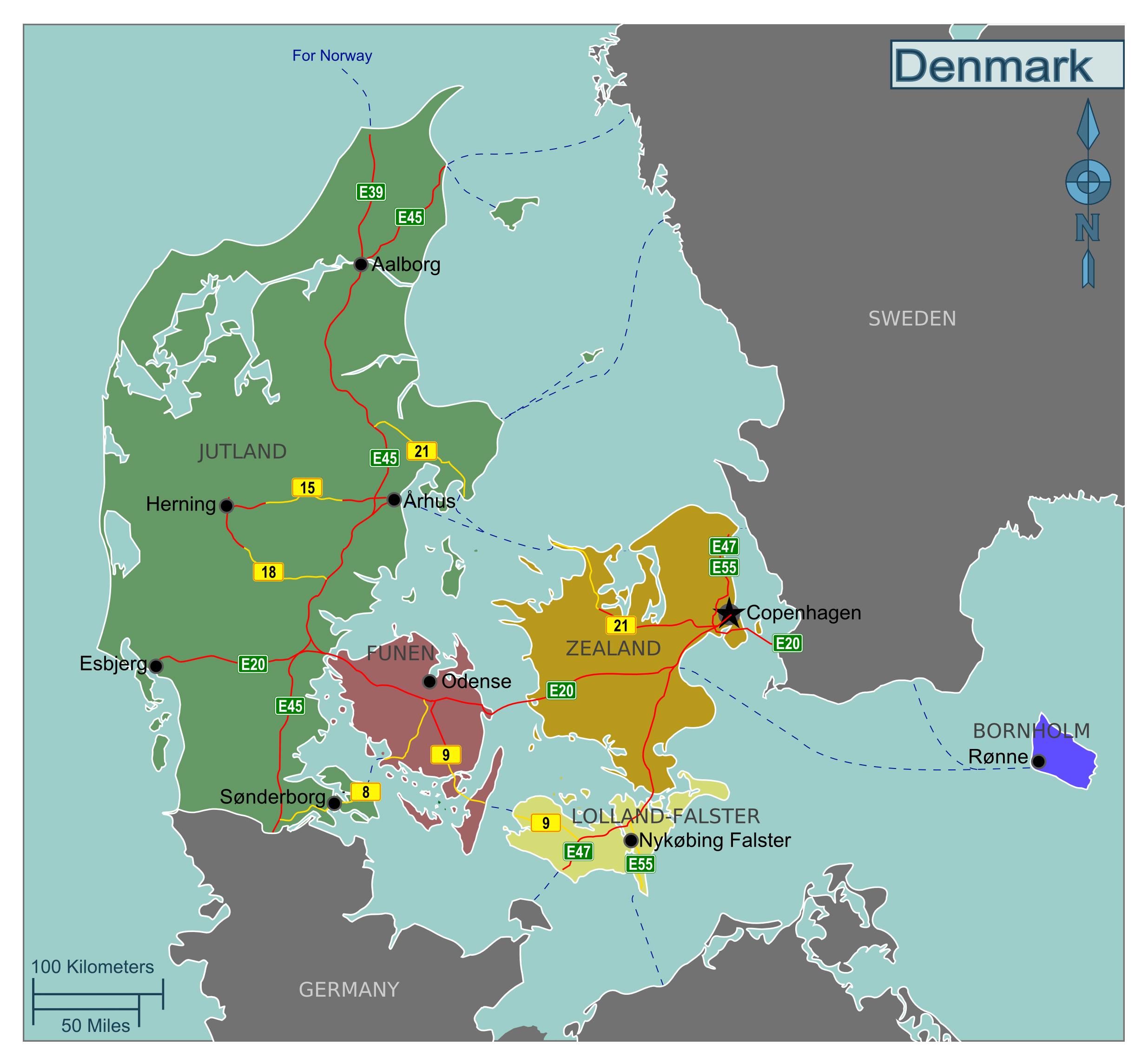 Large regions map of Denmark   Denmark   Europe   Mapsland ...